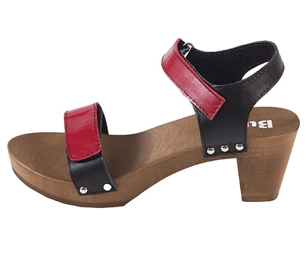 Świeże Drewniaki sandały na obcasie model OD15 Czerwono-Czarny - Sklep Buxa CR05